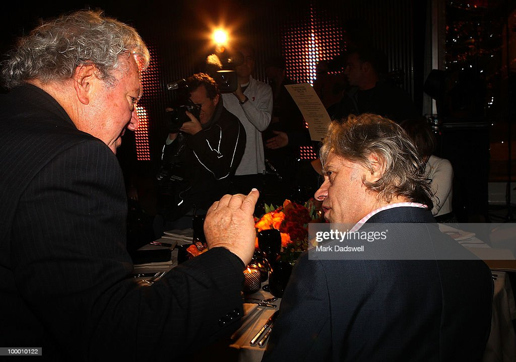 Sam Lipski speaks with Sir Bob Geldof at the Pratt Foundation's 'An Intimate Evening with Sir Bob Geldof' in support of St Vincent's Cancer Center on May 20, 2010 in Melbourne, Australia.