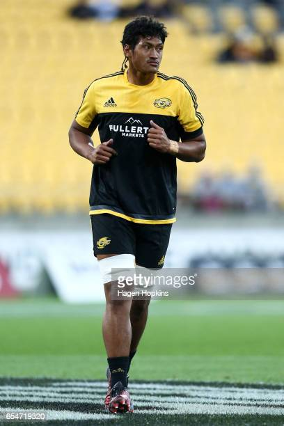 Sam Lousi of the Hurricanes warms up during the round four Super Rugby match between the Hurricanes and the Highlanders at Westpac Stadium on March...