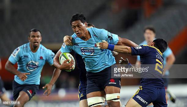 Sam Lousi of the Waratahs on the charge during the round five Super Rugby match between the Highlanders and the Waratahs at Forsyth Barr Stadium on...