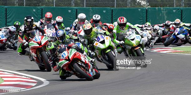 Sam Lowes and Great Britain and Yakhnich Motorsport leads the field during the Supersport race of World Superbikes Race during the round seven of...
