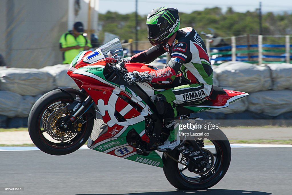 Sam Lowes and Great Britain and Yakhnich Motorsport lifts the front wheel during the qualifying during the round first of 2013 Supersport FIM World Championship at Phillip Island Grand Prix Circuit on February 23, 2013 in Phillip Island, Australia.
