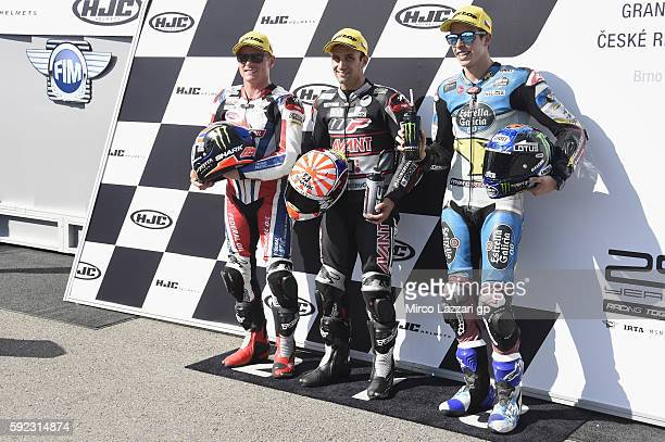 Sam Lowes of Britain and Aprilia Racing Team Gresini Johann Zarco of France and Ajo Motorsport and Alex Marquez of Spain and Estrella Galicia 00 Marc...