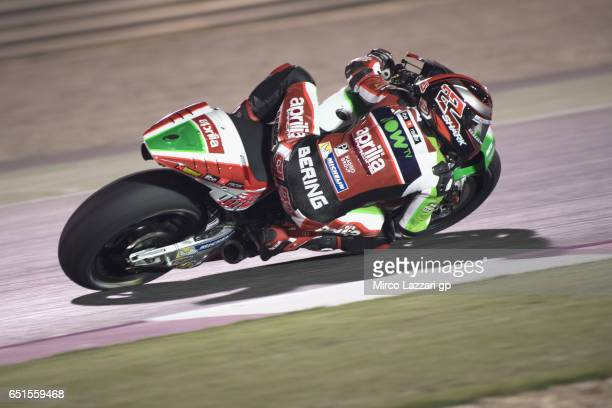 Sam Lowes of Great Britain and Aprilia Racing Team Gresini rounds the bend during the MotoGP Tests In Losail at Losail Circuit on March 10 2017 in...