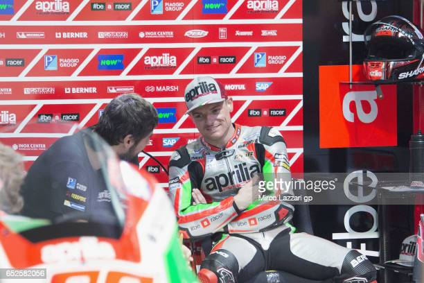 Sam Lowes of Great Britain and Aprilia Racing Team Gresini smiles in box during the MotoGP Tests In Losail at Losail Circuit on March 12 2017 in Doha...