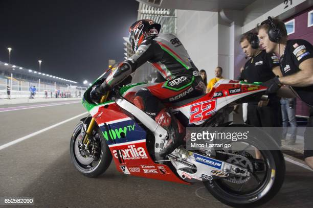 Sam Lowes of Great Britain and Aprilia Racing Team Gresini starts from box during the MotoGP Tests In Losail at Losail Circuit on March 12 2017 in...