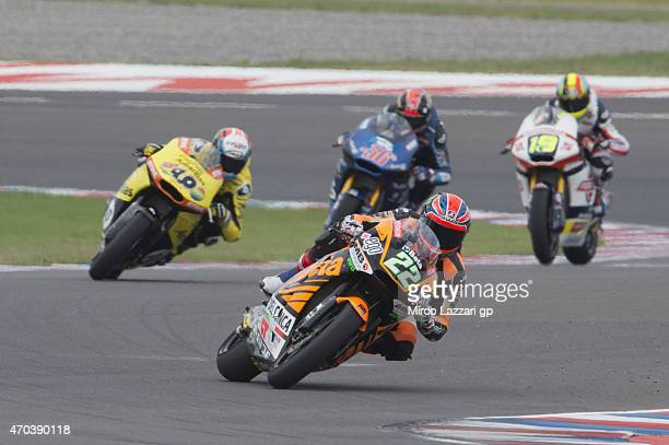 Sam Lowes of Great Britain and Speed Up leads the field during the Moto2 race during the MotoGp of Argentina Race at on April 19 2015 in Rio Hondo...