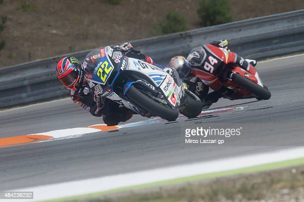 Sam Lowes of Great Britain and Speed Up leads the field during the Moto2 race during the MotoGp of Czech Republic Race at Brno Circuit on August 16...