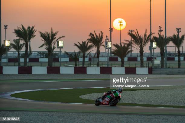 Sam Lowes of Great Britain riding for Aprilia Racing Team Gresini during the final MotoGP winter test at Losail International Circuit on March 10...