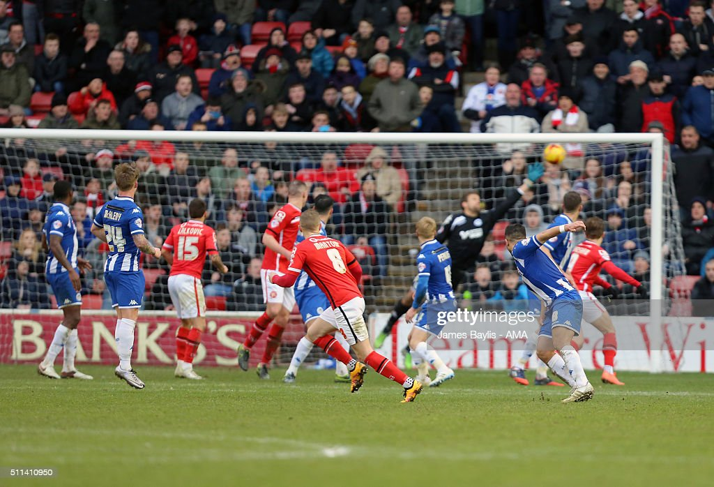 Sam Manton of Walsall scores a goal to make it 1-1 during the Sky Bet League One match between Walsall and Wigan Athletic at Bescot Stadium on February 20, 2016 in Walsall, England.