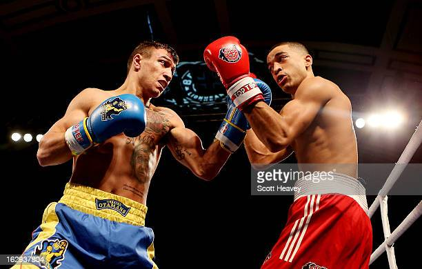 Sam Maxwell of the British Lionhearts in action with Vasyl Lomachenko of the Ukraine Otamans during the World Series of Boxing between the British...