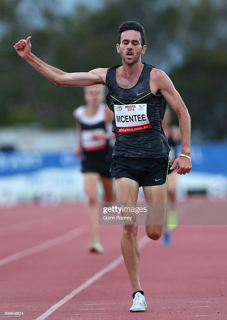 Sam McEntee of Western Australia celebrates winning the Men's 5000 Meter Run during the Briggs Athletics Classic on February 13, 2016 in Hobart, Australia.
