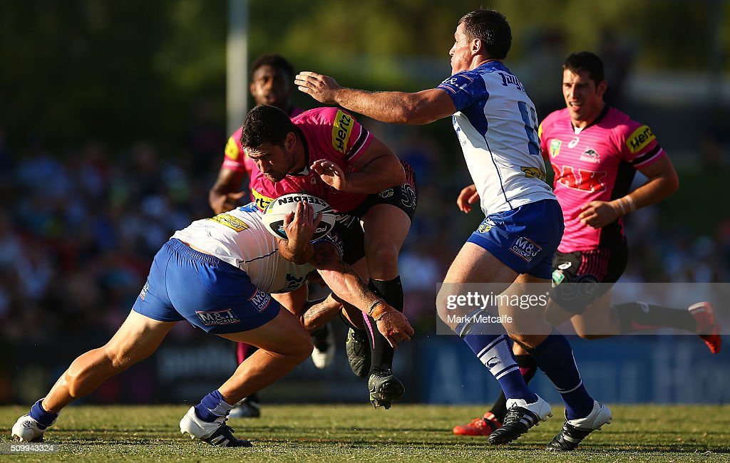 Sam McKendry of the Panthers is tackled during the NRL Trial match between the Canterbury Bulldogs and the Penrith Panthers at Pepper Stadium on February 13, 2016 in Sydney, Australia.