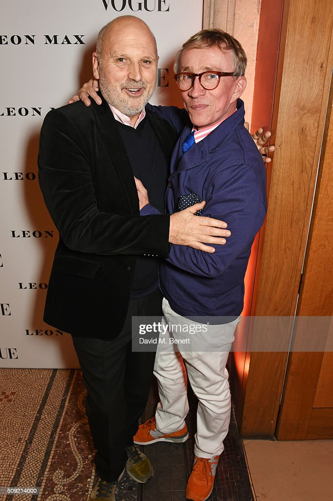 Sam McKnight (L) and Jasper Conran attend a private view of 'Vogue 100: A Century of Style' hosted by Alexandra Shulman and Leon Max at the National Portrait Gallery on February 9, 2016 in London, England.