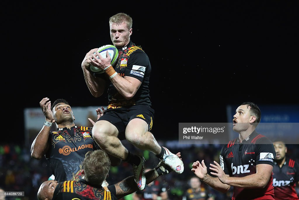 Sam McNicol of the Chiefs collects the high ball during the round 15 Super Rugby match between the Chiefs and the Crusaders at ANZ Stadium on July 1, 2016 in Suva, Fiji.