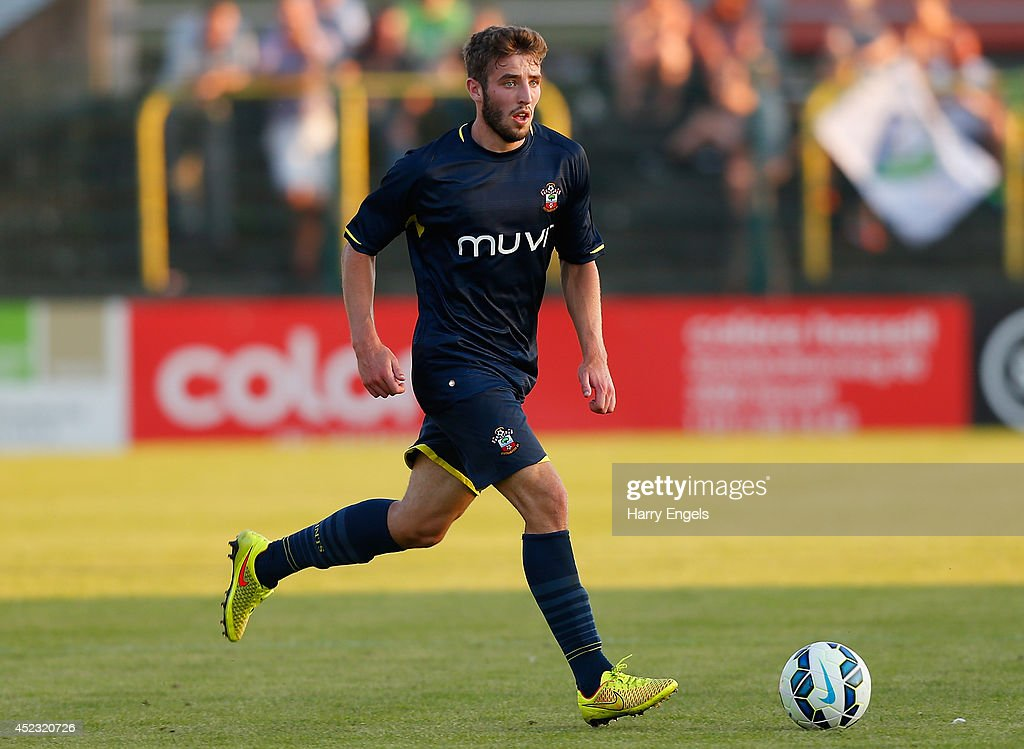 Sam McQueen of Southampton in action during the pre-season friendly match between KSK Hasselt and Southampton at the Stedelijk Sportstadion on July 17, 2014 in Hasselt, Belgium.