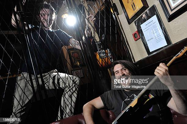 Sam McTrusty and Barry McKenna of Scottish alternative rock band Twin Atlantic During a portrait shoot for Total Guitar Magazine June 10 2011