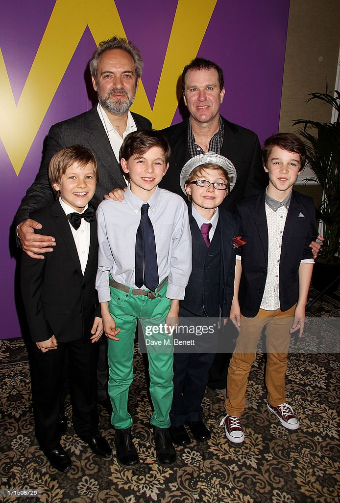 <a gi-track='captionPersonalityLinkClicked' href=/galleries/search?phrase=Sam+Mendes&family=editorial&specificpeople=211300 ng-click='$event.stopPropagation()'>Sam Mendes</a> (rear left) and <a gi-track='captionPersonalityLinkClicked' href=/galleries/search?phrase=Douglas+Hodge&family=editorial&specificpeople=690764 ng-click='$event.stopPropagation()'>Douglas Hodge</a> (rear right) pose with Charlie actors Jack Costello, Tom Klenerman, Louis Suc and Isaac Rouse at an after party celebrating the press night performance of 'Charlie And The Chocolate Factory' at The Grand Connaught Rooms on June 25, 2013 in London, England.
