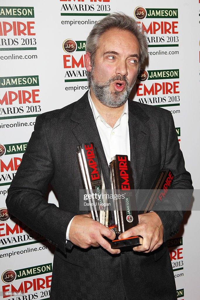 <a gi-track='captionPersonalityLinkClicked' href=/galleries/search?phrase=Sam+Mendes&family=editorial&specificpeople=211300 ng-click='$event.stopPropagation()'>Sam Mendes</a> poses with his awards in the press room at the Jameson Empire Awards 2013 at Grosvenor House Hotel on March 24, 2013 in London, England.