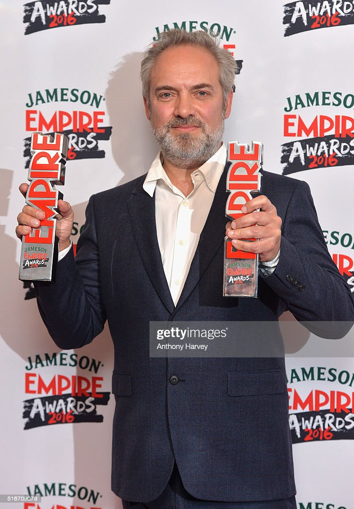 Sam Mendes with his awards in the winners room at the Jameson Empire Awards 2016 at The Grosvenor House Hotel on March 20, 2016 in London, England.