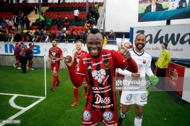 Sam Mensiro and Aly Keita goalkeeper of Ostersunds FK celebrates after the victory during the Allsvenskan match between Ostersunds FK and Djurgarden...