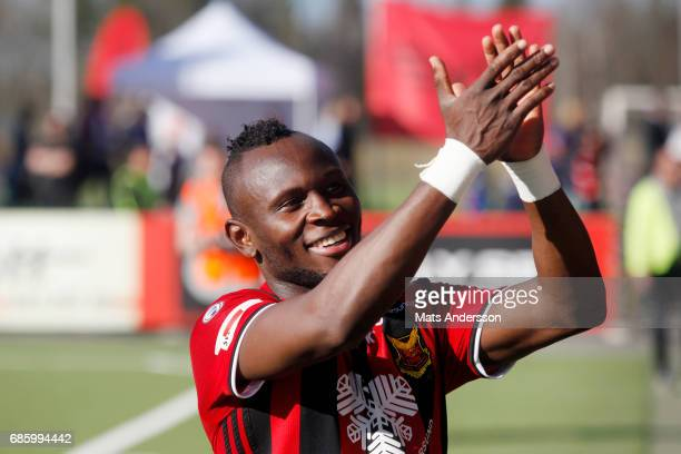 Sam Mensiro of Ostersunds FK celebrates after the victory during the Allsvenskan match between Ostersunds FK and Kalmar FF at Jamtkraft Arena on May...