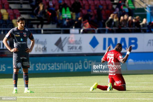 Sam Mensiro of Ostersunds FK celebrates after the victory of the Allsvenskan match between Ostersunds FK and Kalmar FF at Jamtkraft Arena on May 20...