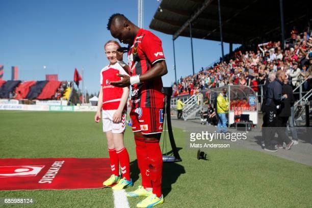 Sam Mensiro of Ostersunds FK during the Allsvenskan match between Ostersunds FK and Kalmar FF at Jamtkraft Arena on May 20 2017 in Ostersund Sweden