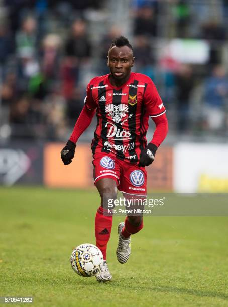 Sam Mensiro of Ostersunds FK during the Allsvenskan match between Jonkopings Sodra IF and Ostersunds FK at Stadsparksvallen on November 5 2017 in...