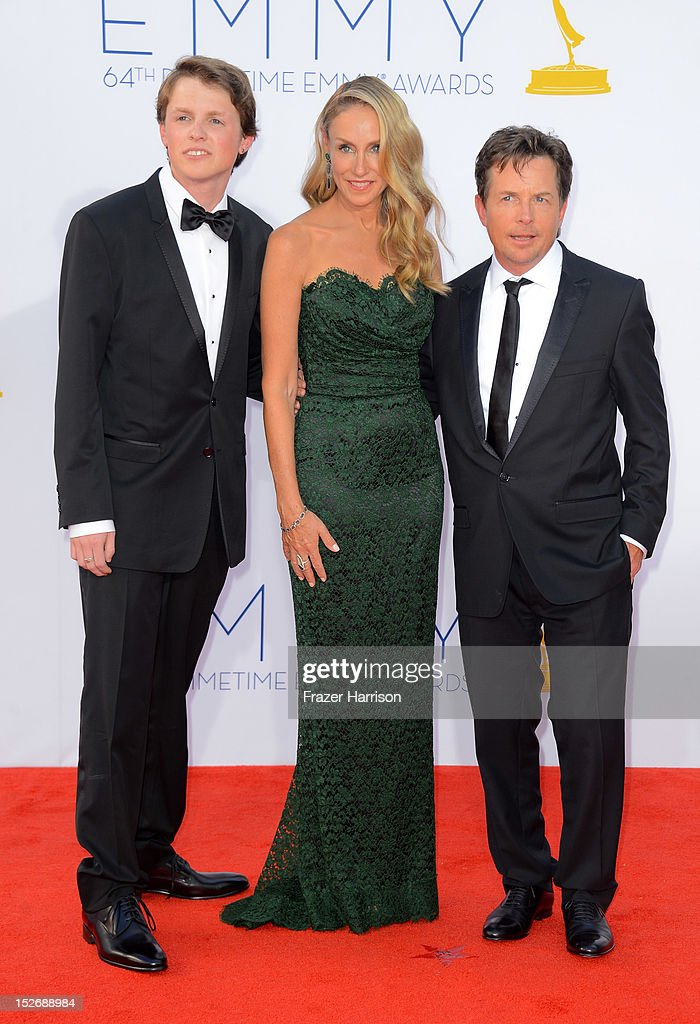 Sam Michael Fox, actress Tracy Pollan and actor Michael J. Fox arrive at the 64th Annual Primetime Emmy Awards at Nokia Theatre L.A. Live on September 23, 2012 in Los Angeles, California.