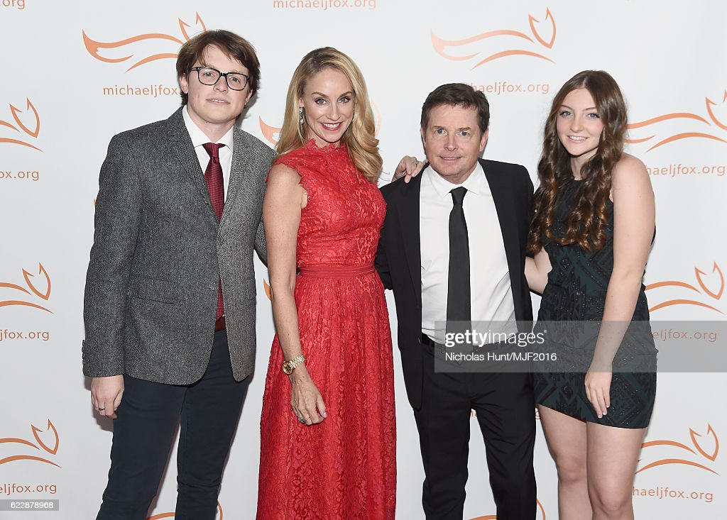 Sam Michael Fox, Tracy Pollan, Michael J. Fox, and Esme Annabelle Fox attend Michael J. Fox Foundation's 'A Funny Thing Happened On The Way To Cure Parkinson's' gala at The Waldorf=Astoria on November 12, 2016 in New York City.