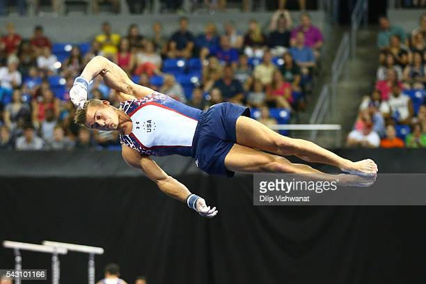 Sam Mikulak competes in the floor exercise during day two of the 2016 Men's Gymnastics Olympic Trials at Chafitz Arena on June 25 2016 in St Louis...