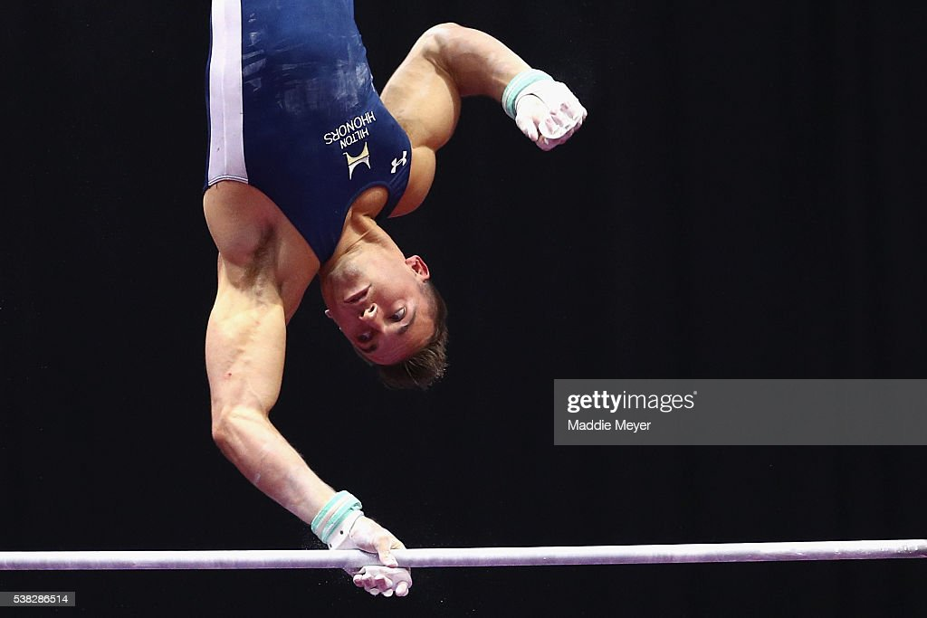 Sam Mikulak competes on the horizontal bar during the 2016 Men's P&G Gymnastics Championships at the XL Center on June 5, 2016 in Hartford, Connecticut.