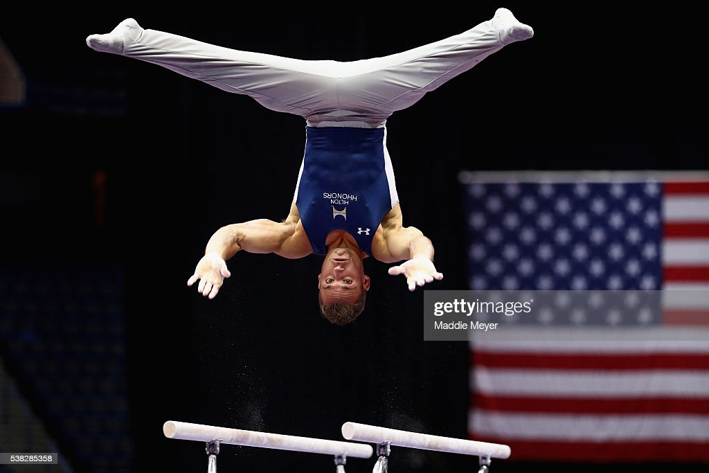 Sam Mikulak competes on the parallel bars during the 2016 Men's P&G Gymnastics CHampionships at the XL Center on June 5, 2016 in Hartford, Connecticut.