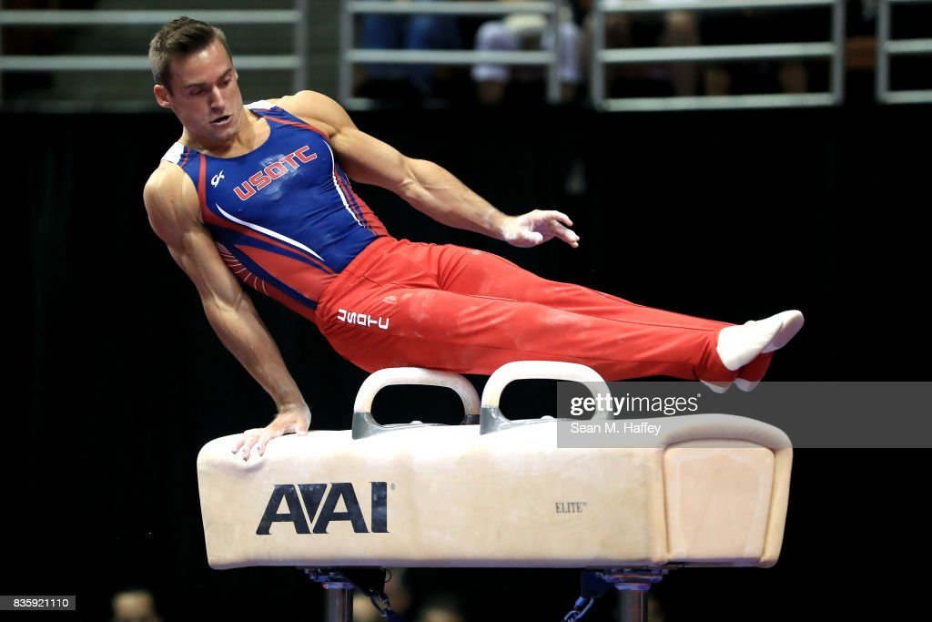 Sam Mikulak competes on the Pommel Horse during the P&G Gymnastic Championships at Honda Center on August 19, 2017 in Anaheim, California.