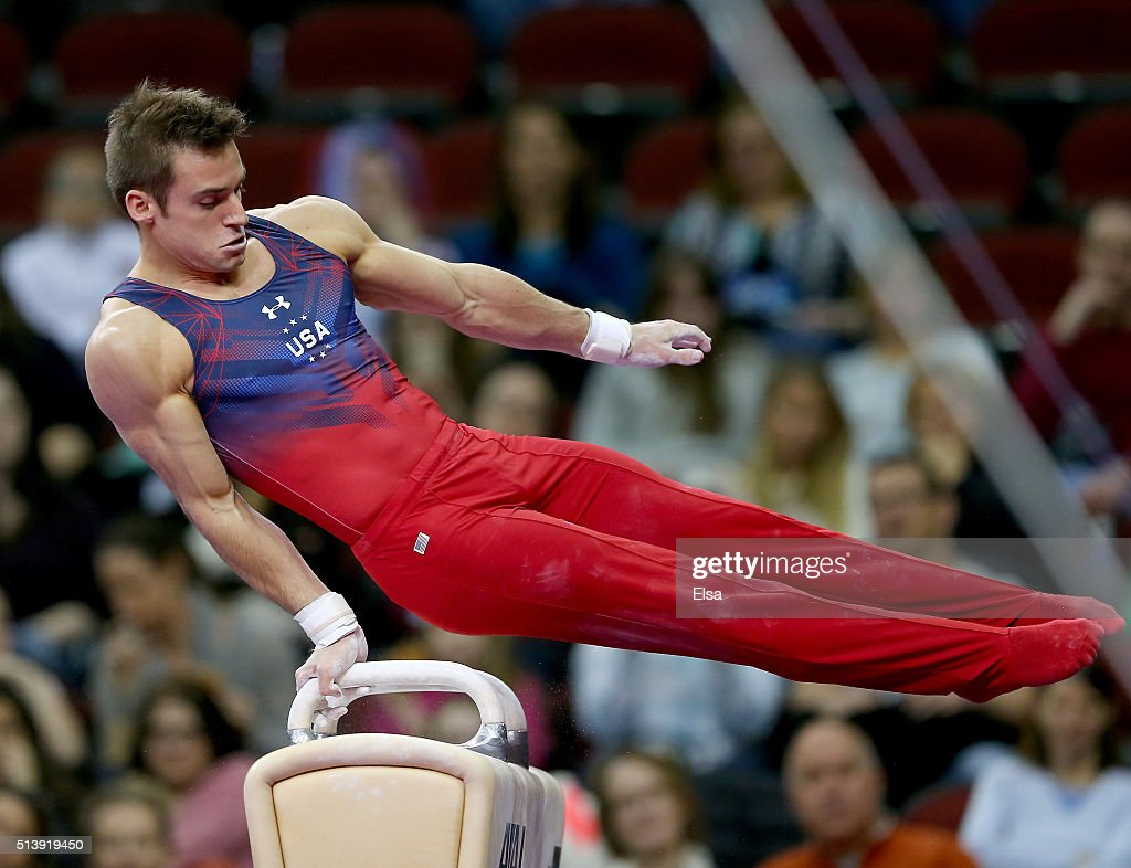 Sam Mikulak of the United States competes on the pommel horse during the 2016 ATT American Cup on March 5 2016 at Prudential Center in Newark New...