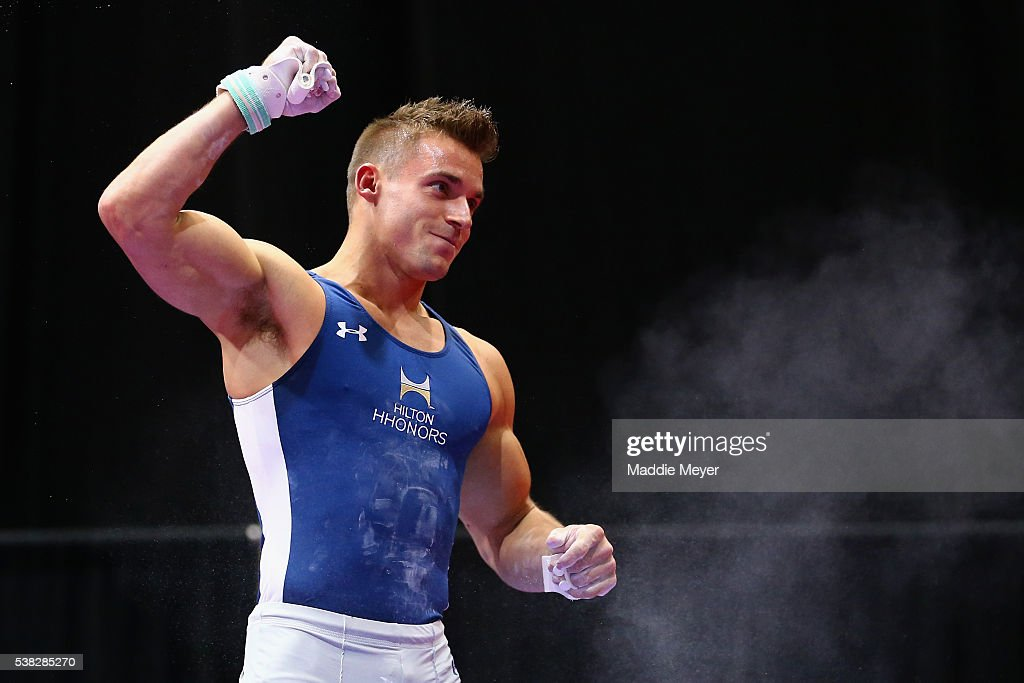 Sam Mikulak reacts after competing on the still rings during the 2016 Men's P&G Gymnastics CHampionships at the XL Center on June 5, 2016 in Hartford, Connecticut.