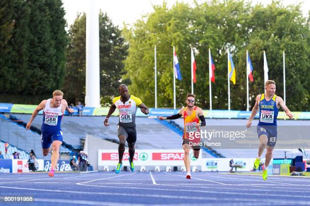 Sam Miller of Great Britain Aleixo Platini Menga of Germany Oscar Husillos of Spain and Serhiy Smelyk of Ukraine compete in the Men's 200m heat 1...