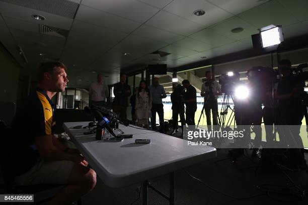 Sam MItchell addresses the media before a West Coast Eagles AFL training session at Domain Stadium on September 11 2017 in Perth Australia