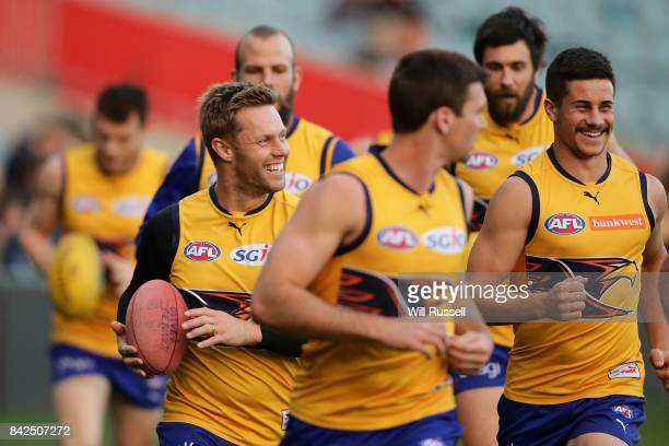 Sam Mitchell and Liam Duggan of the Eagles joke during a West Coast Eagles AFL training session at Domain Stadium on September 4 2017 in Perth...