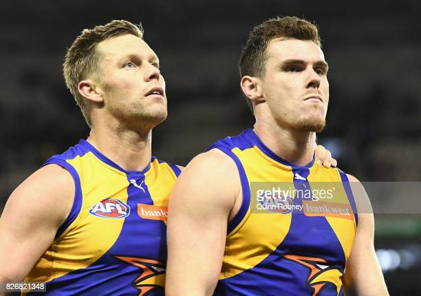 Sam Mitchell and Luke Shuey of the Eagles look dejected after losing the round 20 AFL match between the St Kilda Saints and the West Coast Eagles at...