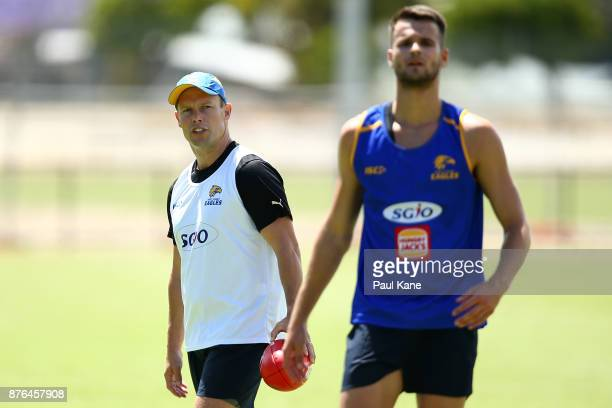 Sam MItchell assistant coach of the Eagles looks on during a West Coast Eagles AFL training session at Lathlain Park on November 20 2017 in Perth...