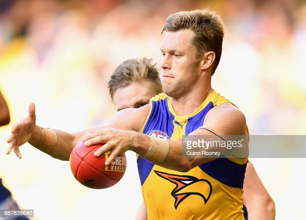 Sam Mitchell of the Eagles kicks during the round one AFL match between the North Melbourne Kangaroos and the West Coast Eagles at Etihad Stadium on...