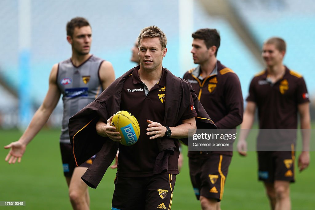 <a gi-track='captionPersonalityLinkClicked' href=/galleries/search?phrase=Sam+Mitchell+-+Australian+Rules+Football+Player&family=editorial&specificpeople=15086217 ng-click='$event.stopPropagation()'>Sam Mitchell</a> of the Hawks and team mates inspect the pitch during a Hawthorn Hawks AFL training session at ANZ Stadium on August 29, 2013 in Sydney, Australia.