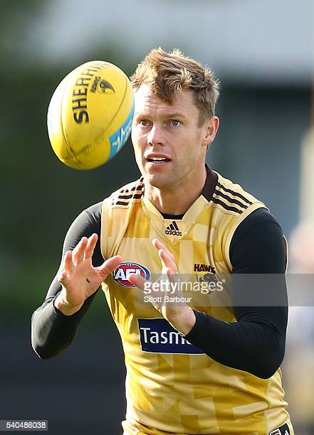 Sam Mitchell of the Hawks catches the ball during a Hawthorn Hawks AFL training session at Waverley Park on June 16 2016 in Melbourne Australia