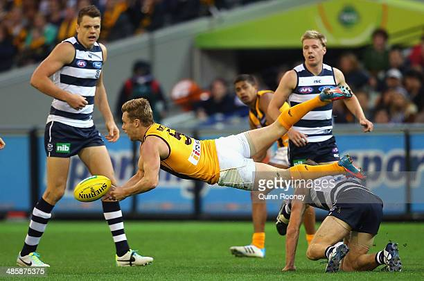 Sam Mitchell of the Hawks handballs during the round five AFL match between the Geelong Cats and the Hawthorn Hawks at Melbourne Cricket Ground on...