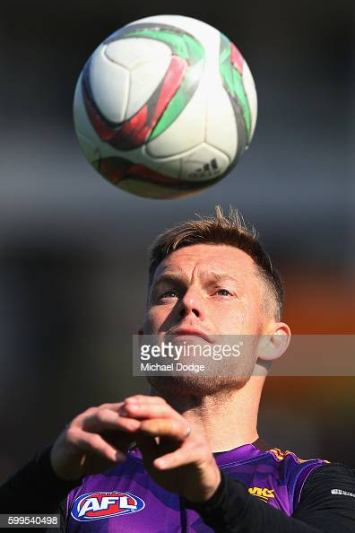 Sam Mitchell of the Hawks heads a soccer ball during a Hawthorn Hawks AFL training session at Waverley Park on September 6 2016 in Melbourne Australia