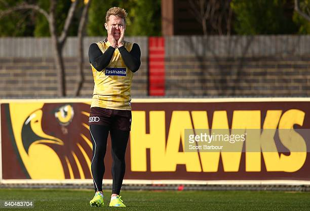 Sam Mitchell of the Hawks yells during a Hawthorn Hawks AFL training session at Waverley Park on June 16 2016 in Melbourne Australia