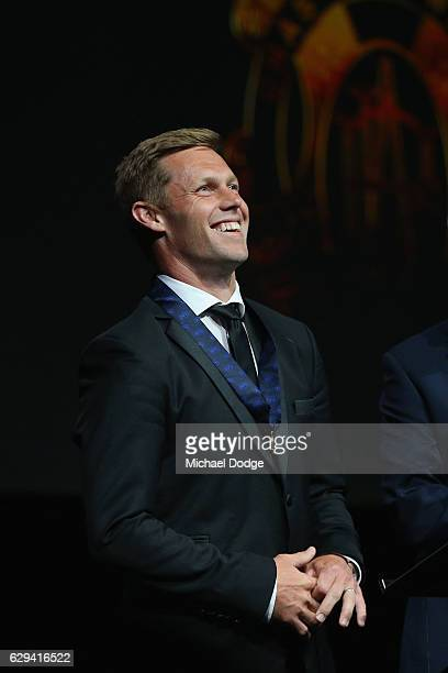 Sam Mitchell of the West Coast Eagles speaks on stage with his Brownlow Medal during the 2012 Brownlow Medal presentation on December 13 2016 in...