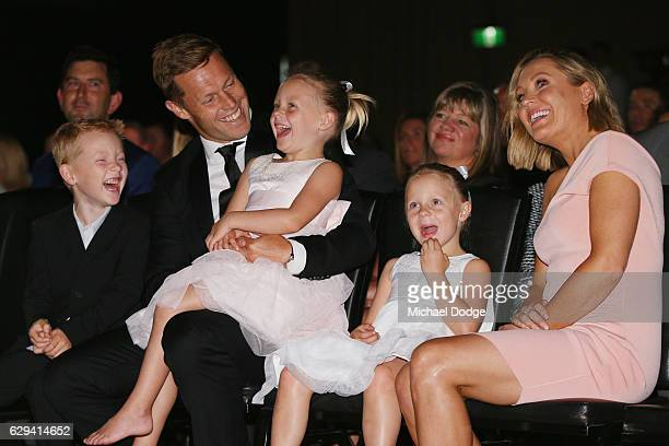 Sam Mitchell of the West Coast Eagles with wife Lyndall daughters Emmy and Scarlett and son Smith during the 2012 Brownlow Medal presentation on...