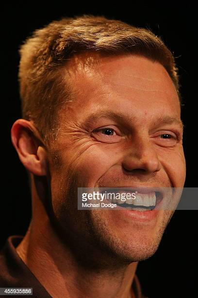 Sam Mitchell reacts during a Hawthorn Hawks AFL media session at Waverley Park on September 23 2014 in Melbourne Australia